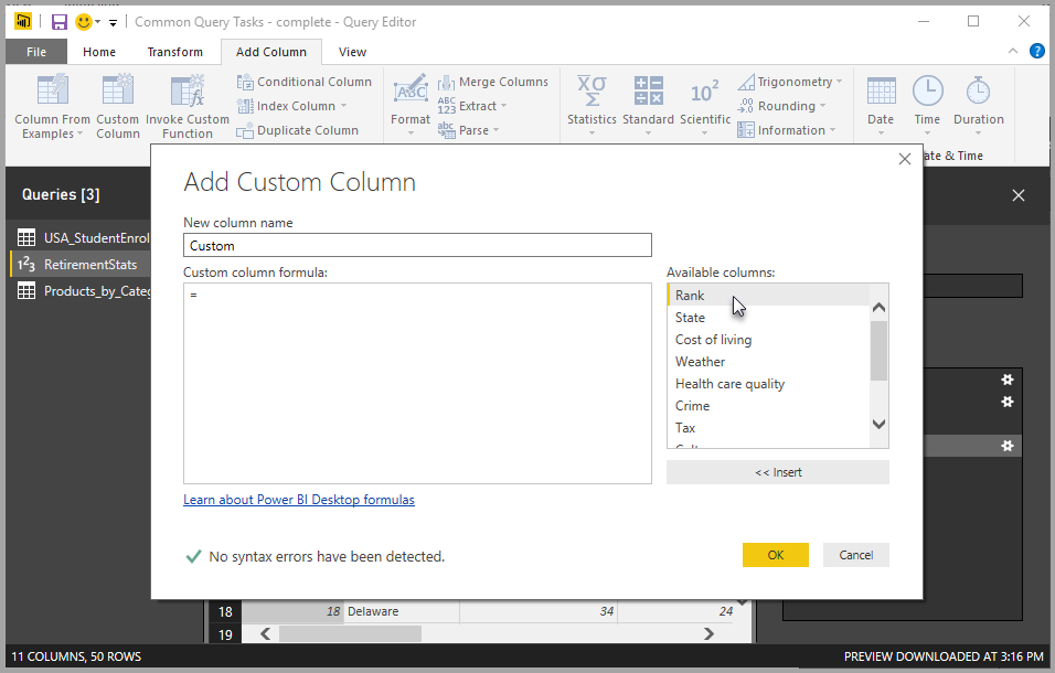 Screenshot shows the Add Custom Column dialog box, which includes available columns to choose from.