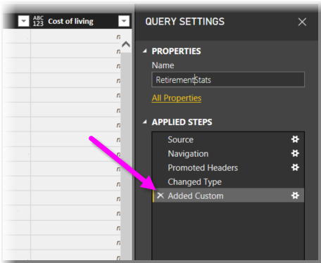 Custom column added to Query Settings