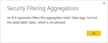 RLS on aggregation table only is not allowed