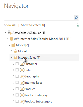 Select Navigator table or column to load