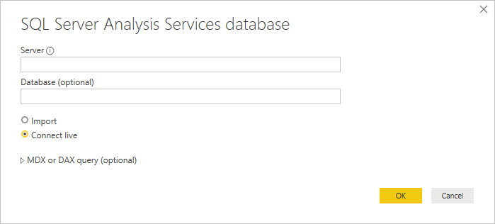 SQL Server Analysis Services database window