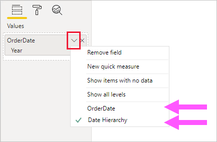 Example of a visual field configuration for the OrderDate hierarchy. The open context menu  displays two options allowing the toggling to use the OrderDate column or the Date Hierarchy.
