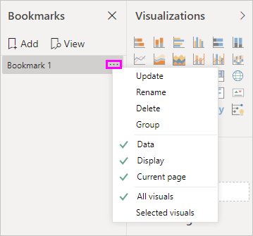 Select sub-menu for a bookmark by using the ellipses
