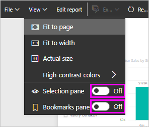 View bookmarks and selection panes in the Power BI service