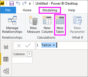 New table in Data View
