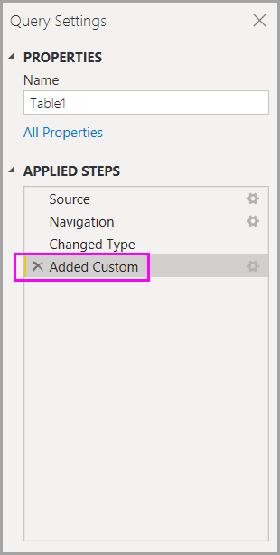 Applied steps, Query Settings pane, Power Query Editor, Power BI Desktop