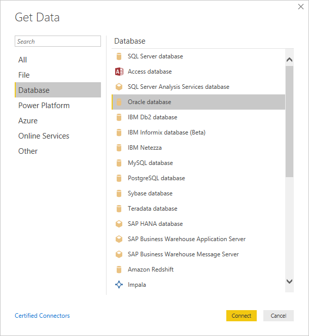 Connect to an Oracle database - Power BI | Microsoft Docs