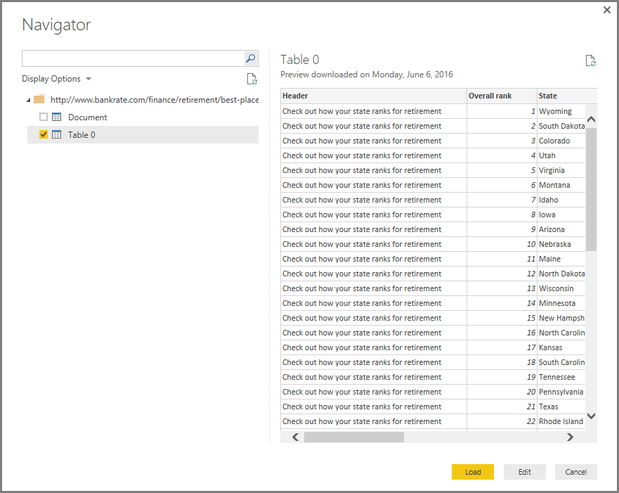 Connect to a Web page from Power BI Desktop - Power BI | Microsoft Docs