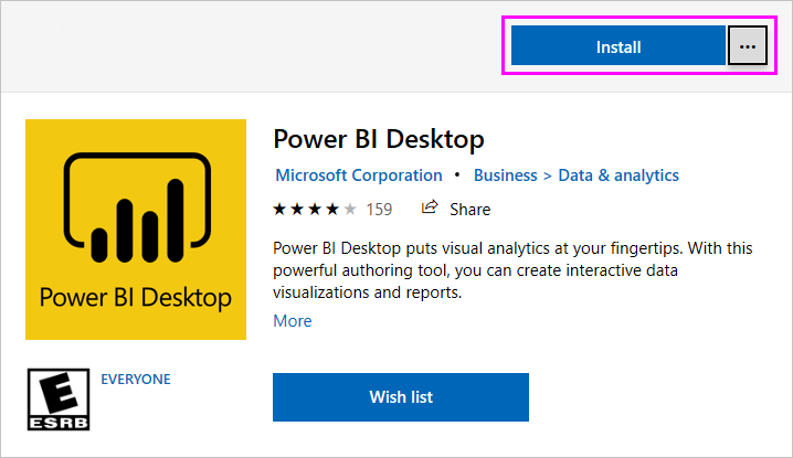 Screenshot of Microsoft Store showing the Power B I Desktop install option.