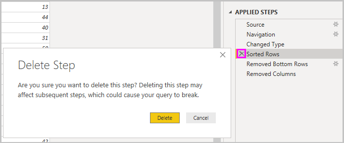 Delete step warning