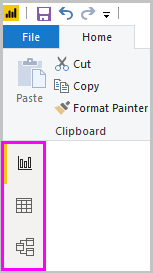 The three Power BI Desktop view icons