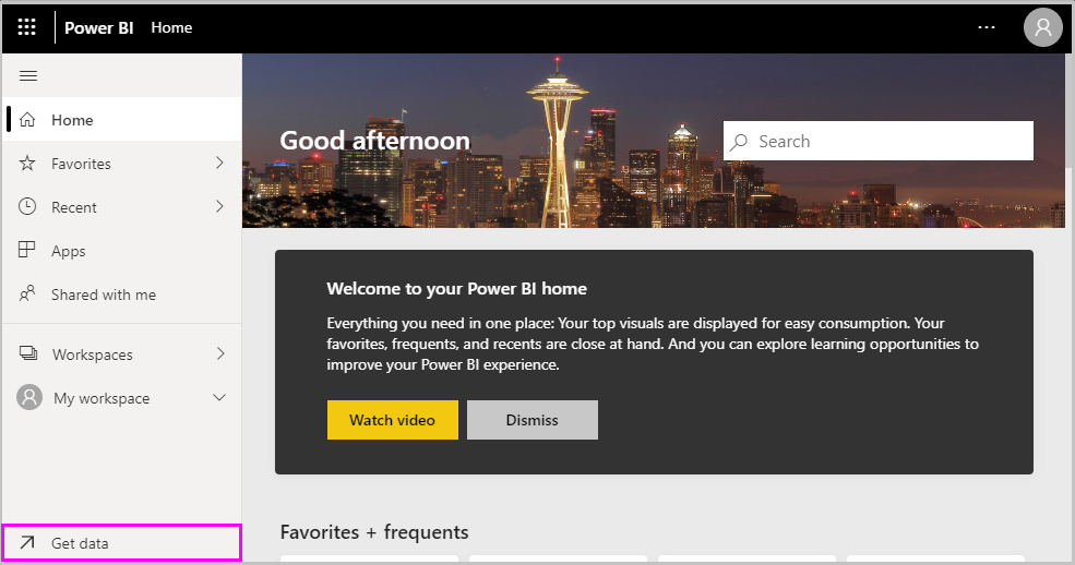 Select Get data on Power BI Home page