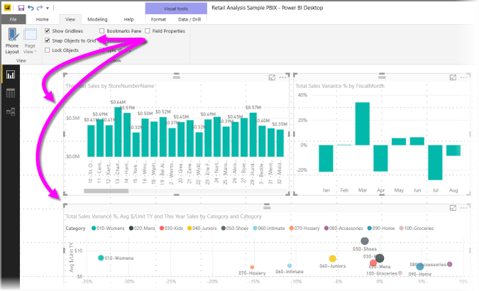 Use gridlines and snap-to-grid in Power BI Desktop reports - Power