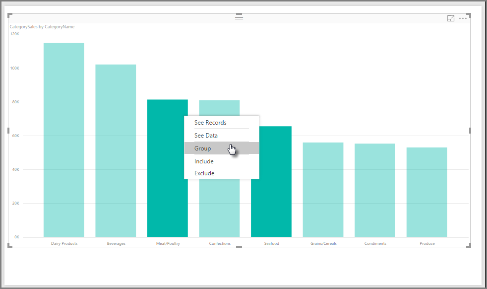 Group command, graph, Grouping, Power BI Desktop