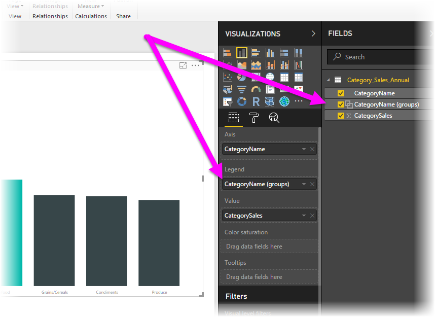 Legend and Fields lists, grouping, Power BI Desktop