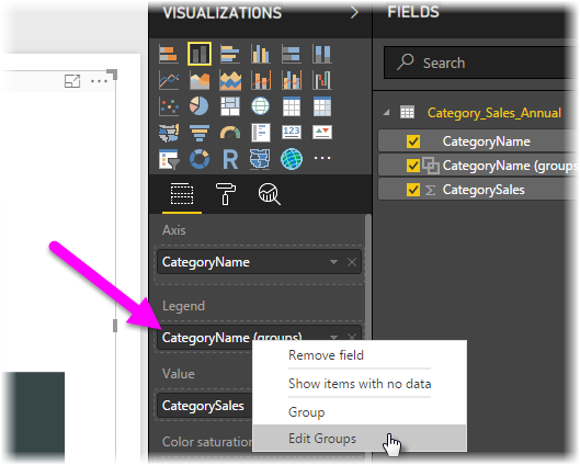Edit Groups command, Legend and Fields lists, Power BI Desktop