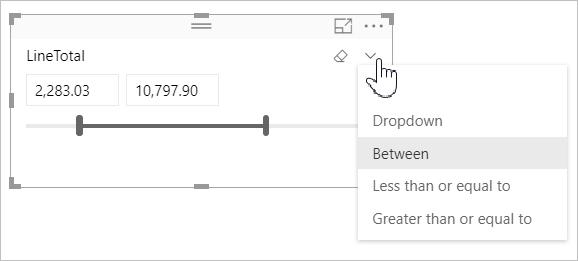 Use the numeric range slicer in Power BI Desktop - Power BI