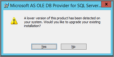 Screenshot of dialog to confirm an upgrade during installation of Excel O L E D B provider client libraries.