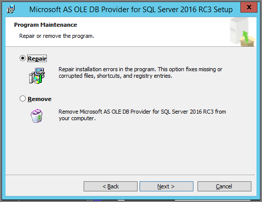 Screenshot of dialog asking to update if a newer version of Excel O L E D B provider client library is available.