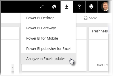Screenshot of down arrow menu option in the upper right corner, to select Analyze in Excel updates.