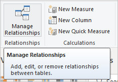 Manage Relationships ribbon