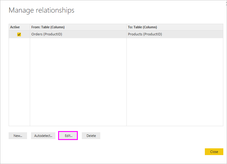 Manage Relationships dialog