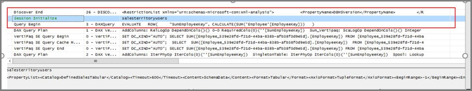 dashboard to the underlying report with sql profiler you would see a specific query coming back to the analysis services tabular model as a dax query