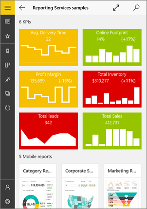 View Ssrs Mobile Reports Kpis In Windows 10 Mobile App