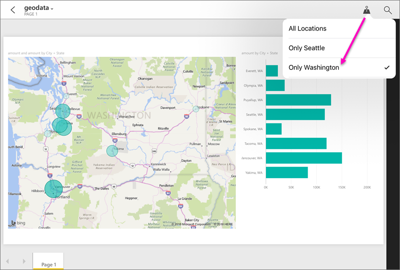 Filter report by geographic location in a power bi mobile app push pin filter gumiabroncs Images