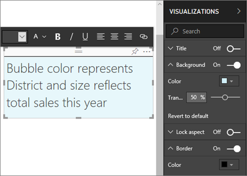 Text boxes and shapes in Power BI reports - Power BI