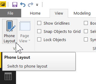 Phone layout icon, View menu