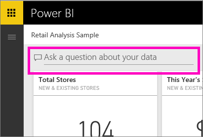 Screenshot shows a Power B I dashboard with an option to Ask a question about your data.