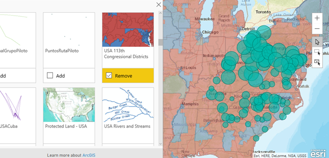 enter search terms and then select a map layer in this example weve chosen usa congressional districts