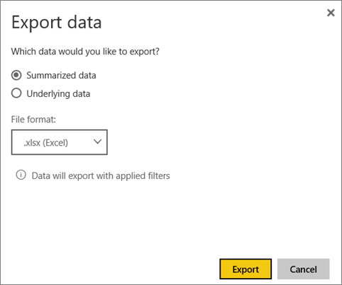 Screenshot of the Export data screenshot with the Summarized data, xlsx, and Export options called out.