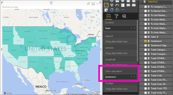 select salesfact sentiment to add it to the color saturation well the field in the color saturation well controls the map shading