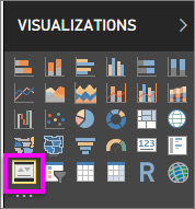 Screenshot of the Visualizations pane with the KPI icon called out.