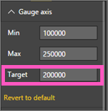 Screenshot of the Gauge axis options with Target called out.