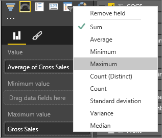 Screenshot of the Fields pane with Gross Sales and the Maximum aggregate called out.