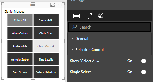 Selection controls