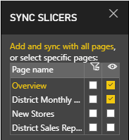 Screenshot of Sync District Monthly Sales slicer.