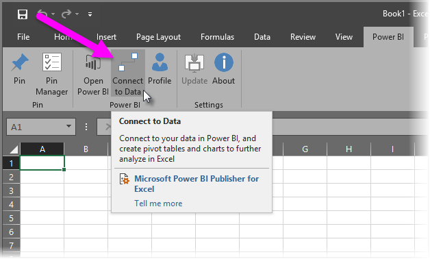 how to connect to power bi data in excel