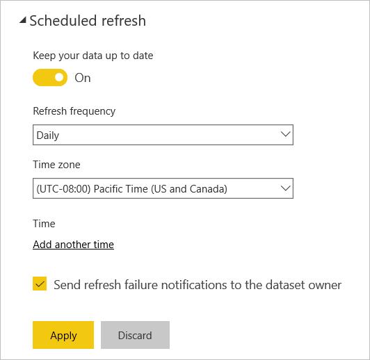 Configure scheduled refresh - Power BI | Microsoft Docs
