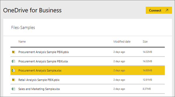 Take a tour of the samples available with power bi power bi select the file in this case procurement analysis samplexlsx which was saved on onedrive for business and choose connect wajeb Images