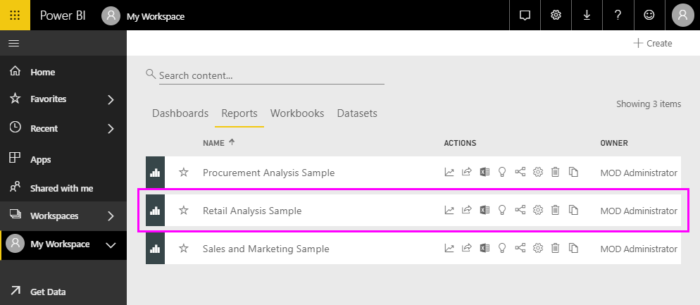 Connect to the samples in the Power BI service - Power BI