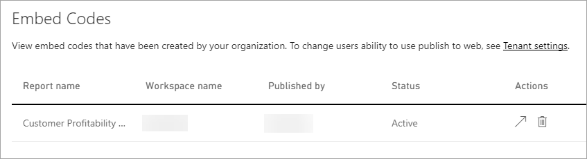 Embed codes within the Power BI admin portal