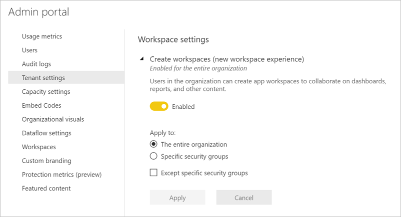 Create the new workspace experiences