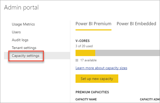 Capacity settings within the admin portal