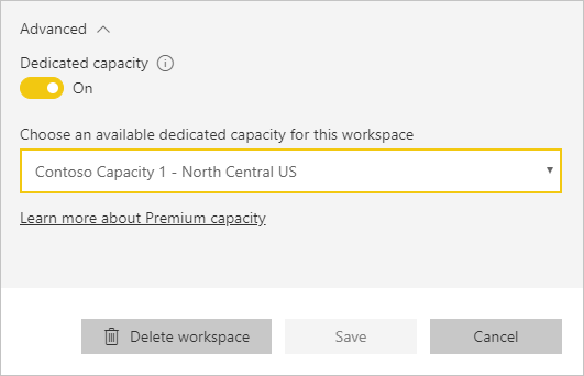 Capacity selection drop down