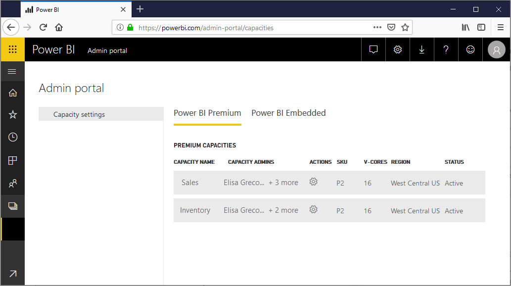 Power BI capacity settings screen