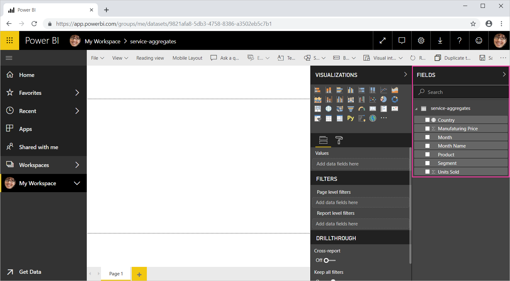 Screenshot of Power BI with the Fields list called out.